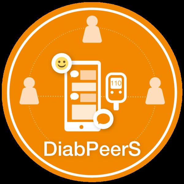 Logo DiabPeerS: Grafik mit Personen-Icons und einem Mobiltelefon mit Chat-Symbolen